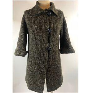 Damask green wool blend cardigan sweater size S